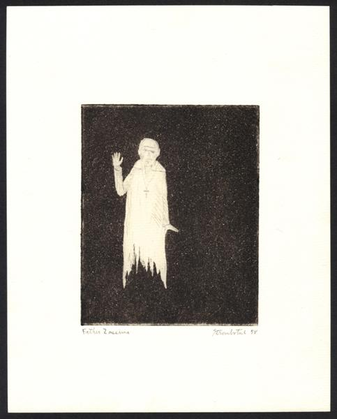 "James Strombotne ""Father Zossima"" 1958 Etching"